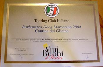 Vini Buoni d'Italia per la guida del Touring Club Italiano - Barbaresco Marcorino D.O.C.G. 2004.